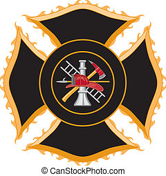 Illustration of a firefighter maltese cross symbol. The six color vector format can be easily edited or separated for print or screen print. Each major element of the vector art is on a separate layer for your convenience.