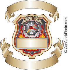 Illustration of a firefighter or fire department shield with firefighter tools logo.