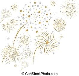 Fireworks design isolated on white background vector illustration