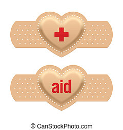First aid with love adhesive bandage vector illustration