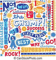 The Champ Word Doodles- Sports Trophy Winner Notebook Doodles- Illustration Hand-Drawn Lettering Design Elements Set
