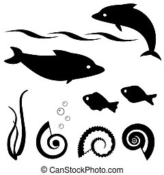 Fish silhouettes vector set 1