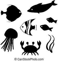 Fish silhouettes vector set 3