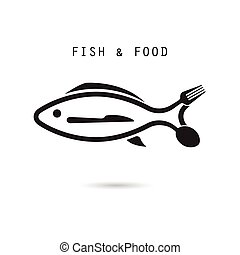Fish, spoon, fork and knife icon.