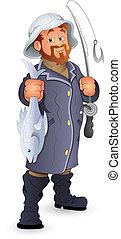 Creative Conceptual Design Art of Fisherman Vector Illustration Cartoon