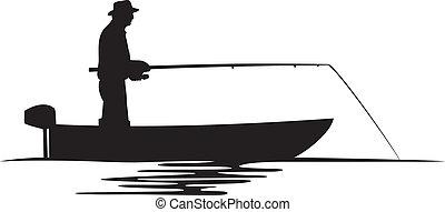 fisherman in a boat silhouette (fisherman silhouette, fishing design, fishermen in a boat fishing)