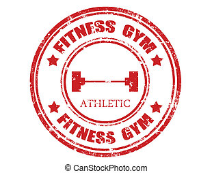 Grunge rubber stamp with text Fitness gym, vector illustration
