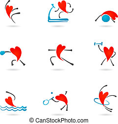 Collection of fitness icons with heart character