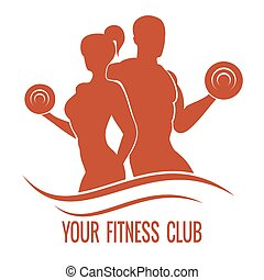 Fitness logo with muscled man and woman silhouettes