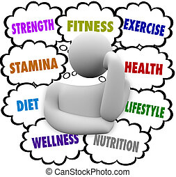 Fitness, strength, stamina, diet, wellness and exercise words in thought clouds above a thinking person's head planning a nutrition and wellness regimen