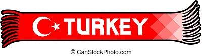 Flag of Turkey colors - sport fans scarf design vector illustration