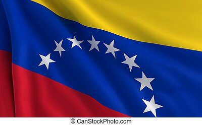 A flag of Venezuela in the wind