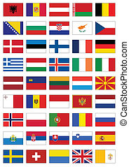 Complete vector set of flags from Europe. All objects are grouped and tagged with the country name.