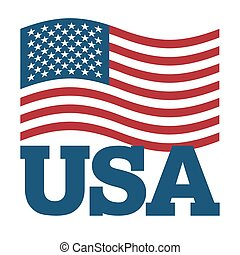 Flag USA. Developing America flag on white background. Patriotic illustration. National State symbol of country America. Sign United States