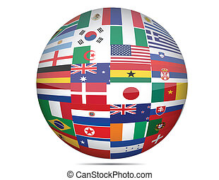 Flags of the world in globe format over a white background.