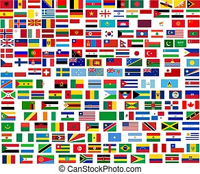 Flags of all world countries. Illustration over white background