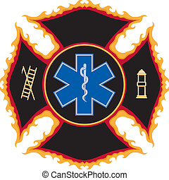 Illustration of a flaming fire and rescue maltese cross symbol The six color vector format can be easily edited or separated for print or screen print. Each major element in the vector format is on a separate layer for your convenience.