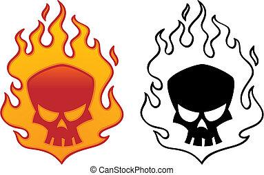 Flaming skull vector illustration. Cool tattoo or logo design.