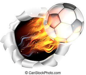 An illustration of a burning flaming Soccer Football ball on fire tearing a hole in the background