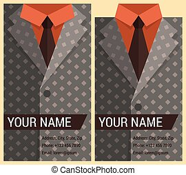 Flat business card template with gray jacket