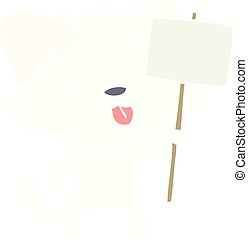 flat color style cartoon dog holding sign post