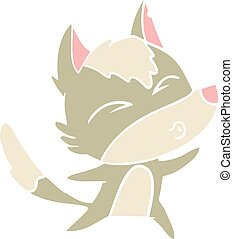 flat color style cartoon wolf howling