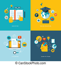 Set of flat design concept icons for web and mobile phone services and apps. Icons for education, online education, online learning, learn to think.