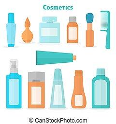 Flat cosmetic icons set
