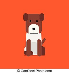 Flat cute dog sitting on background vector. Cartoon puppy design. beagle dog with flat style concept.