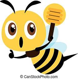 Flat design cute bee holding a honey dipper with thumb up hand sign. Flat vector illustration.