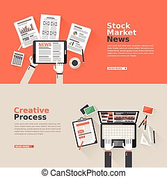 flat design for stock market news and creative process