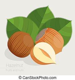 Flat design hazelnut vector icon