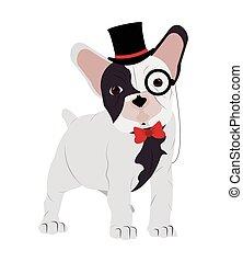 hipster french bulldog icon