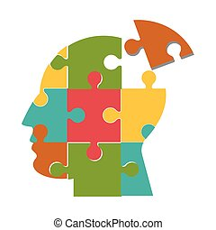 human head in puzzle pieces icon
