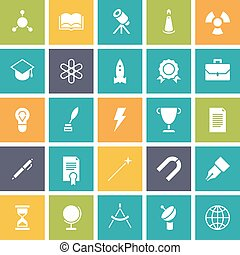 Flat design icons for education and science