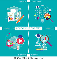 flat design icons for education concepts