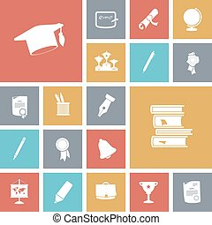 Flat design icons for education