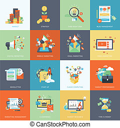 Set of modern flat design concept icons for marketing. Icons for market, strategy, blog management, digital marketing, mobile marketing, email marketing, marketing management, cloud computing, market research, newsletter, market performance, e-commerce. The set can be used for several purposes like...
