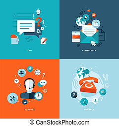 Set of flat design concept icons for web and mobile phone services and apps. Icons for faq, newsletter, support, contact.