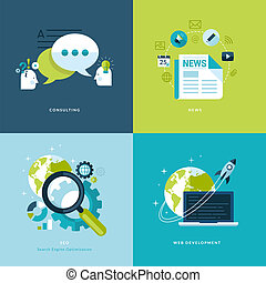 Set of flat design concept icons for web and mobile services and apps. Icons for consulting, news, seo, web development