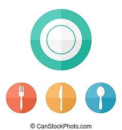 Flat restaurant menu icons.