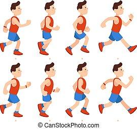 Flat running man. Athletic boy run animation frames sequence. Runner male in tracksuit, legs animations cartoon vector illustration