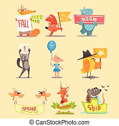 Flat Season Animal Icons. Vector Illustrations