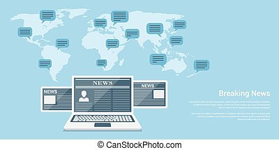 flat style banner concept of breaking news, notebook and tablets with news articles and world map with speech bubbles