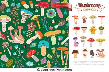 Flat Summer Forest Mushrooms Concept