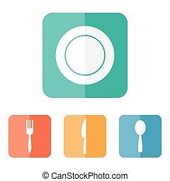 Flat utensils menu icons.