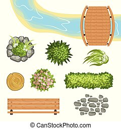Flat vector set of landscape elements. Wooden bridge and bench, stump, river, green bushes and flowers, stone path. Top view