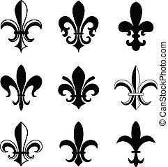 Fleur De Lis Vector Icon Set. Isolated Elements