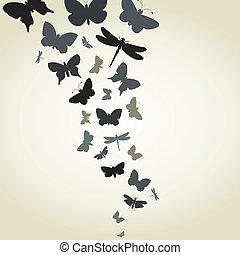 The flight of butterflies flies. A vector illustration