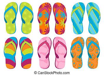 Set of colorful fun Flip flops